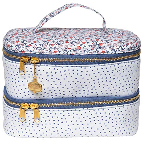 "C.R. Gibson Women's Large Blue Polka Dot and Red Floral Travel Makeup, Cosmetic, and Toiletry Bag, 8"" W x 6"" H x 4.5"" D"