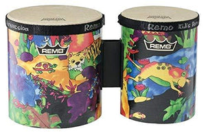 "Remo KD-5400-01 Kids Percussion Bongo Drum - Fabric Rain Forest, 5"" 6"""