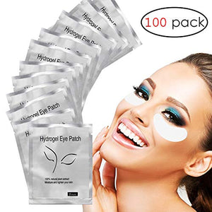 Adecco Under Eye Gel Pads, 100 Pairs Set Eyelash Extension Pads, Lint Free DIY False Eyelash Lash Extension Makeup Eye Gel Patches
