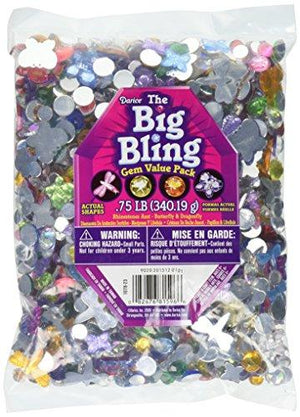Darice 1078-23 Big Bling Shapes Gem Value Pack Rhinestone, Multicolor