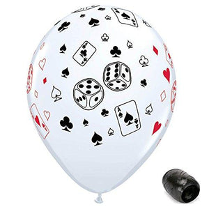 Generic 10 Pack 11 Cards And Dice Casino Night Latex Balloons With Matching Ribbon