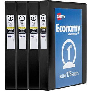 "Avery 1"" Economy View 3 Ring Binder, Round Ring, Holds 8.5"" X 11"" Paper, 4 Black Binders (19203)"
