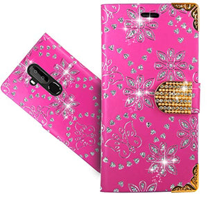 OUKITEL C12 Pro Case, CaseExpert Bling Diamond Flowers Leather Kickstand Flip Wallet Bag Case Cover for OUKITEL C12 Pro