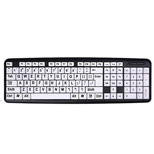 Hde Large Print Computer Keyboard Wired Usb High Contrast White With Black Oversized Letters For Visually Impaired Low Vis