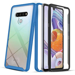 PULEN Full-Body Rugged Designed for LG Stylo 6 Case, with Built-in Screen Protector TPU Shock Absorption Shatter-Resistant Bumper + Clear PC Back Anti-Drop Cover (Blue)