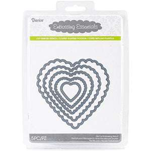 Darice Embossing Essentials Dies, Nesting Scallop Hearts, 5-Pack