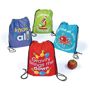 Fun Express Science Party Drawstring Backpacks - 12 Ct