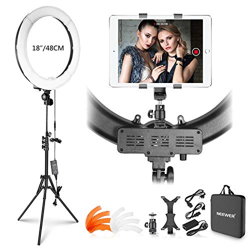 Neewer Ring Light Kit: 18 inches Outer 55W 5500K Dimmable LED Ring Light  with Light Stand/iPad Clamp/Soft Tube/Color Filter/Carrying Bag for YouTube  Video, Selfie, Make-up, Hair Salon, etc online at iBhejo.com