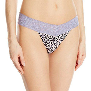 Maidenform Women's Dream Lace Thong Panty, Gentle Animal Print Plum Grey Large/X-Large