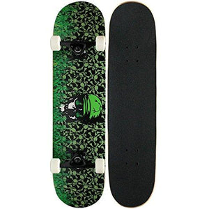 Krown Pro Skateboard Complete Green Flame 7.5 In