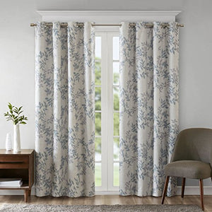 SUNSMART Julie Botanical Print Blackout Curtains, Casual Grommet Window Curtain for Bed Room Living Room Kitchen, Black Out Panels, 1-Panel Pack, 50x84, Aqua