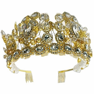 Wiipu Luxury Vintage Arabia Hair Gold Leaf Crystal Wedding Crown Tiaras(A2031)-Gold