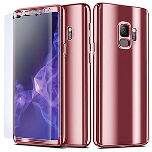 NALIA 360° Case Compatible with Samsung Galaxy S9, Full-Body Metal-Look Phone Cover Protective Front & Back, Ultra-Thin Shockproof Bumper Skin Slim Fit Hardcase with Screen Protector, Color:Rose Gold