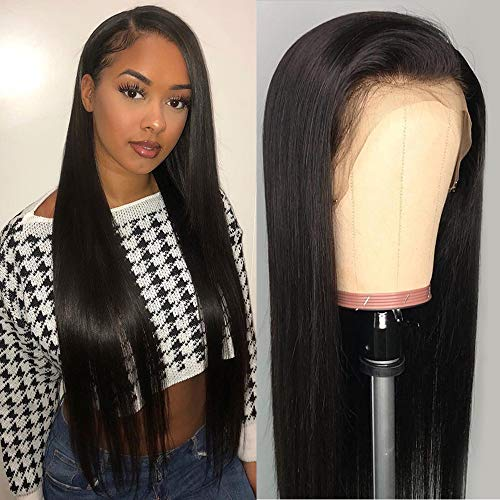 DACHIC 13x4 Lace Front Human Hair Wigs for Women Brazilian Straight Hair Wigs with Baby Hair Pre Plucked Natural Hairline (20 Inch)