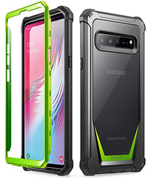 Galaxy S10 5G Rugged Clear Case, Poetic Full-Body Hybrid Cover, Support Wireless Charging, Without Built-in-Screen Protector, Guardian Series, Case for Samsung Galaxy S10 5G 6.7 inch (2019), Green