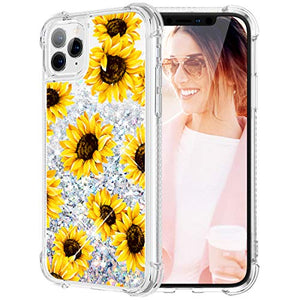 Caka Case for iPhone 11 Pro Flower Glitter Case Floral Pattern Liquid Bling TPU Bumper Cushion Protective Luxury Flowing Floating Sparkle Women Girl Yellow Case for iPhone 11 Pro (5.8 inch)(Sunflower)