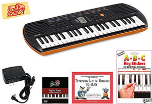 Casio SA-76 Mini Keyboard Bundle with Power Supply, Removeable Stickers