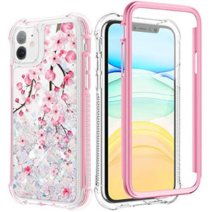 Caka Case for iPhone 11 Glitter Case Flower Bling Liquid Protective Full Body Heavy Duty with Built in Screen Protector Love Glitter Pink Blossom for Women Girl Case for iPhone 11 (6.1 inch)(Cherry)