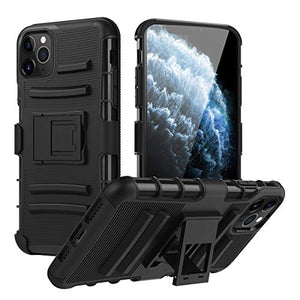 MoKo Compatible with iPhone 11 Pro Case, Shockproof Hard Cover Heavy Duty Phone Cover with Holster Belt Clip and Built-in Kickstand Fit iPhone 11 Pro 5.8 inch 2019 - Black