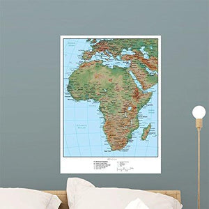 Wallmonkeys Africa Terrain Educational Map Wall Mural Peel and Stick Graphic (24 in H x 17 in W) WM161542