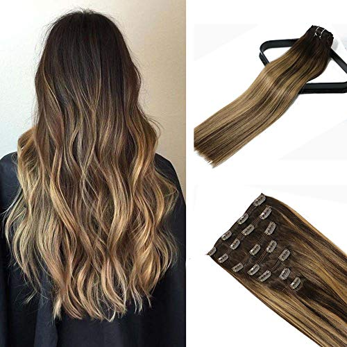 Hair Extensions Clip In Brown to Caramel Blonde Mixed Brown Balayage 18In 10A Grade Real Hair Full Head Silky Straight Human Hair For Women 10A Grade 120g7pcs(18ln#4T27P4)