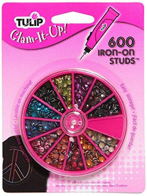 Tulip Glam-It-Up Iron-On Studs, 600-Pack, 12-Millimeter, Multicolor