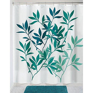 "Interdesign 35607 Leaves Fabric Shower Curtain - Standard, 72"" X 72"", Teal Multi"