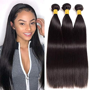 Ur Beautiful 8A Brazilian Straight Hair Bundles 18 20 22 Inch Straight Bundles 100% Unprocessed Virgin Straight Human Hair Bundles Brazilian Hair 3 Bundles Natural Black Color