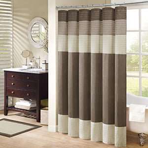 Madison Park Amherst Bathroom Shower Faux Silk Pieced Striped Modern Microfiber Bath Curtains, 54x78 Inches, Natural
