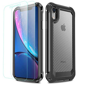 iPhone XR Case, LABILUS Hybrid Carbon Fibre Pattern Shockproof Clear Cover Case with Screen Protector (2 Pack) Designed for iPhone XR - Black