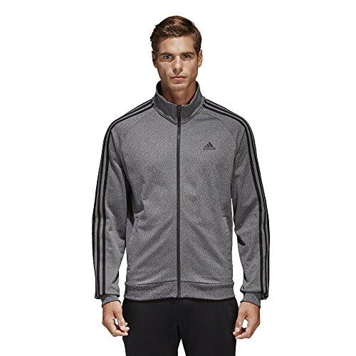 Adidas Men'S Essentials 3-Stripe Tricot Track Jacket Dark Grey/Black Large