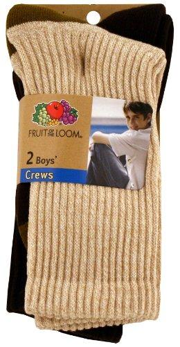 Fruit of the Loom Boy's Outdoor Casuals Crew Sock 2 Pairs