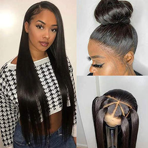 "360 Lace Frontal Wig Straight for Black Women Pre Plucked with Baby Hair, Glueless 150% 180% Density 360 Lace Front Wig Brazilian Virgin Human Hair (16"", Natural Black-150%)"