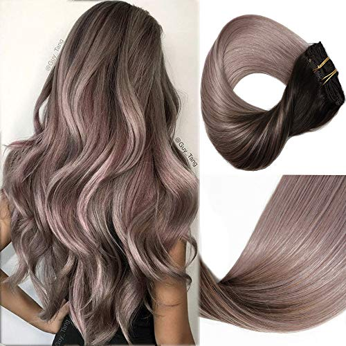 HUAYI Brown To Milky Lavender/Pink Mauve Ombre 120g 18inch 7Pcs Tape In Hair Extensions Human Hair Soft Thick End Tangle Free Durable Silky Straight Balayage Hair Extensions (2TG#18)