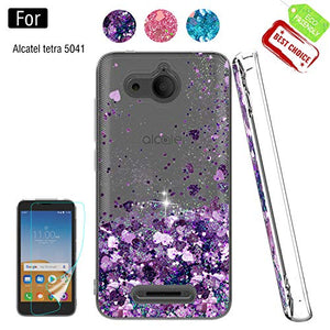 Alcatel Tetra Phone Case,Alcatel Tetra Cases with HD Screen Protector for Girls Women, Luxury Glitter Diamond Quicksand Clear TPU Protective Phone Case for Alcatel Tetra Purple