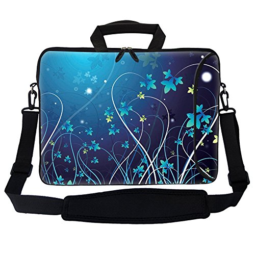 Soft Carrying Handle /& Removable Shoulder Strap for 14 to 15.6 Size Notebook Computer Meffort Inc 15 15.6 inch Neoprene Laptop Bag Sleeve with Extra Side Pocket Blue Mini Flower Swirl