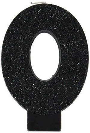 "Amscan 0 Birthday Glitter 3.25"" Numeral Candle Children'S Party Supplies, Black"