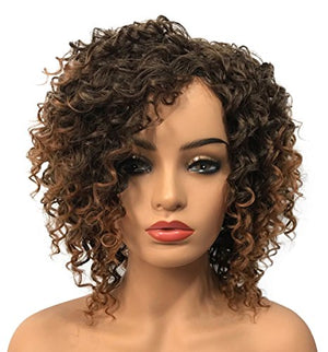 Wiginway Women Wig Medium Curly Brown Wigs Synthetic Wig Hairpiece For Women Remy Hair Pieces 8 Inch