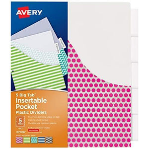 Avery Big Tab Insertable Plastic Dividers With Pockets 5 Tabs 1 Set Assorted Fashion Design (07708)