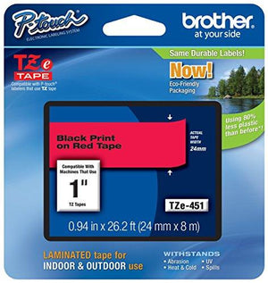 Brother Tape, 1 Inch, Black On Red (Tze451) -