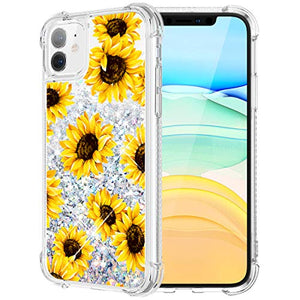 Caka Case for iPhone 11 Flower Glitter Case Floral Pattern Liquid Bling TPU Bumper Cushion Protective Luxury Flowing Floating Sparkle Women Girl Yellow Phone Case for iPhone 11 (6.1 inch)(Sunflower)
