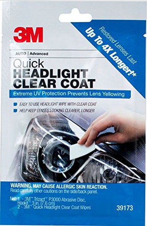 3M 39173 Quick Headlight Clear Coat, Cleans and Prevents Lens Yellowing