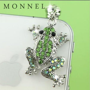 Cute Green Crystal Frog Charm Cell Phone Dust Plug for iPhone iPad Mini iPad iPod Touch Samsung Huawei MI Android Phone with 3.5mm Earphone Jack IP418-B