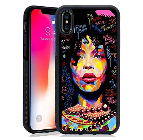 Hng Kiang Hu iPhone XSMAX Case Girls, African American Women Black Hair Colorful Watercolor Artistic Tempered Mirror Material Case for iPhone XSMAX (B-for iPhone XSMAX)