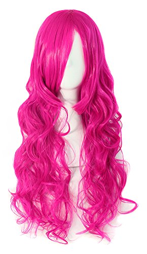 MapofBeauty 70cm Long Pink Wavy Cosplay Party Wig (Rose Red)