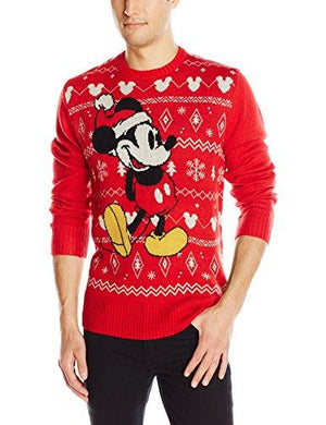 Disney Men's Mickey Sweater RD Sweater, Red, X-Large