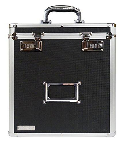 Vaultz Vz00490 Locking Vinyl Record Storage Case With 2 Combination Locks Black And Silver