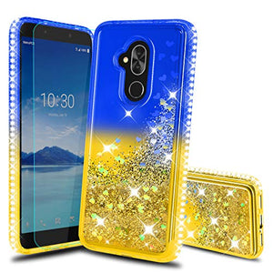 Alcatel 7 Case,T-Mobile Revvl 2 Plus Cases with HD Screen Protector, Atump Glitter Liquid Diamond TPU Silicone Protective Phone Cover Case for Alcatel 7 Folio Blue/Yellow
