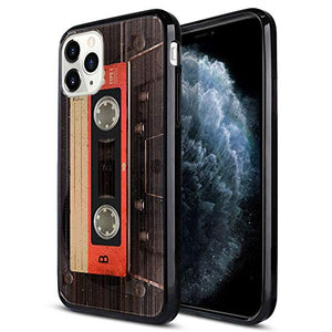 FINCIBO Case Compatible with Apple iPhone 11 Pro 5.8 inch 2019, Slim Shock Absorbing TPU Bumper + Clear Hard Protective Case Cover for iPhone 11 Pro (NOT FIT 11 Pro Max) - Red Vintage Cassette