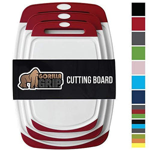 Gorilla Grip Original Reversible Cutting Board (3Piece) Extra Large Kitchen (Set of Three Red)